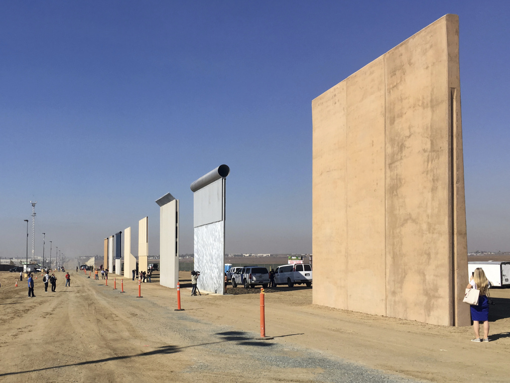 Border wall prototypes on display in San Diego, Calif., where contractors offer different designs.