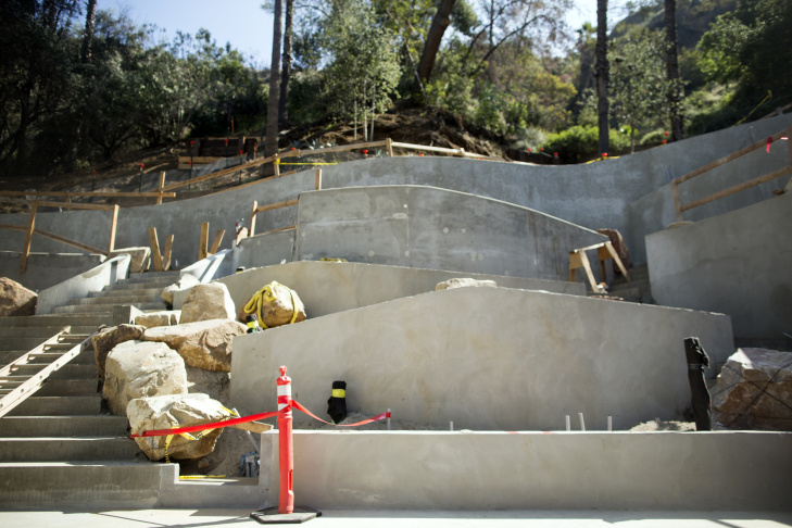 The Ford Amphitheatre undergoes the first phase of architect Brenda Levin's master plan for the space. The tower on the left will house lighting and sound.