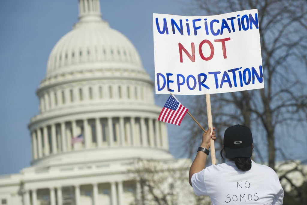 A file photo of an anti-deportation protester.