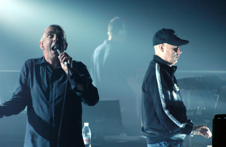 British band the Pet Shop Boys perform at the Olympic stadium during the closing ceremony of the 2012 London Olympic Games on August 12, 2012.