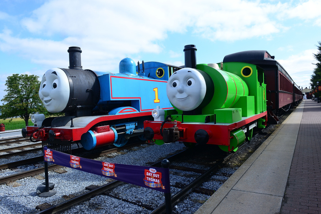 Thomas the Tank Engine welcomes his best friend Percy during the Thomas & Friends: A Day Out with Thomas Tour 2014 at Strasburg Rail Road Museum on September 12, 2014 in Lancaster County, Pennsylvania.