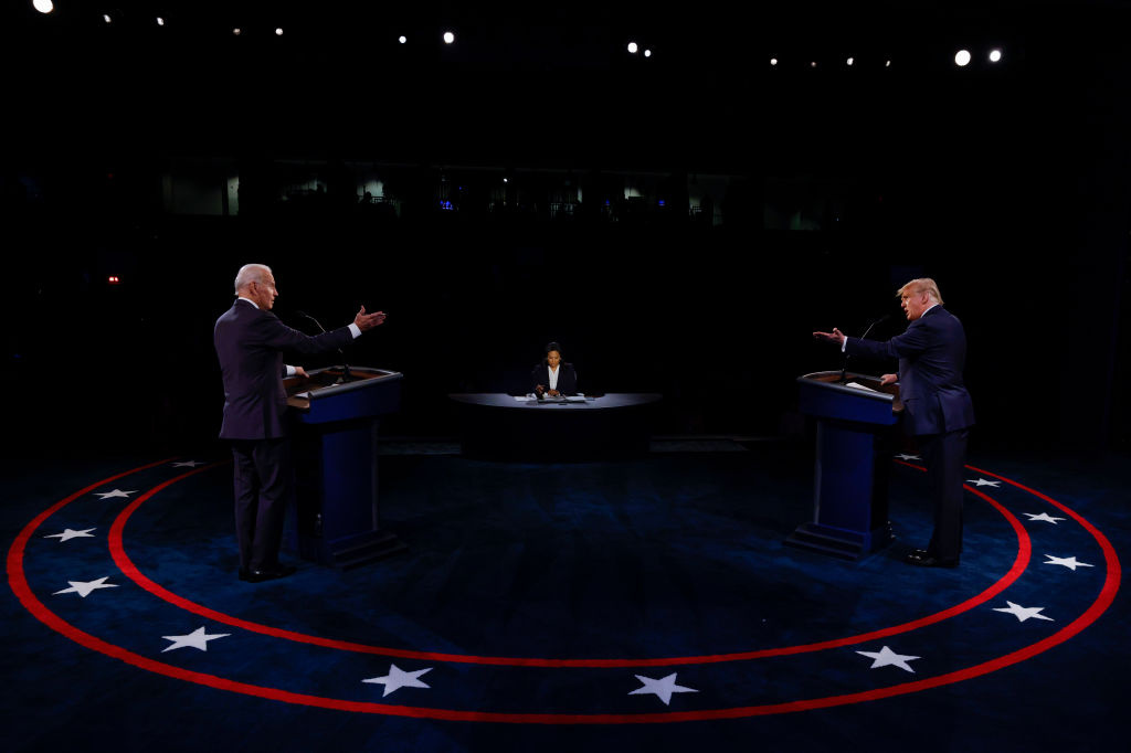 U.S. President Donald Trump and Democratic presidential nominee Joe Biden participate in the final presidential debate at Belmont University on October 22, 2020 in Nashville, Tennessee.