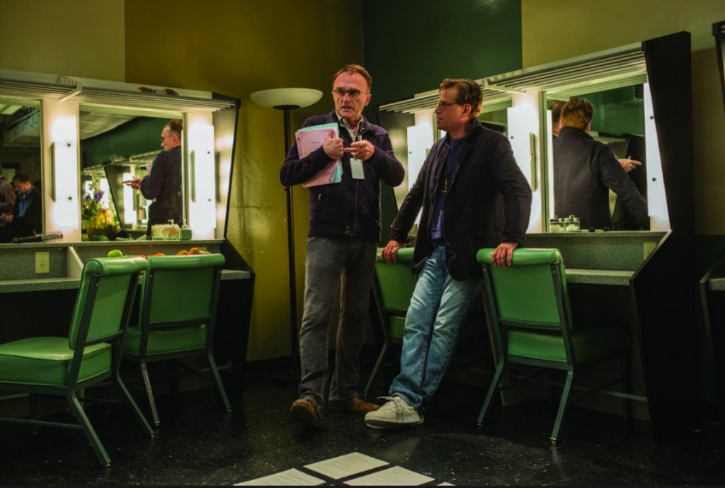 Screenwriter Aaron Sorkin, right, with director Danny Boyle on the set of