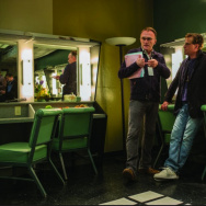 """Screenwriter Aaron Sorkin, right, with director Danny Boyle on the set of """"Steve Jobs."""""""