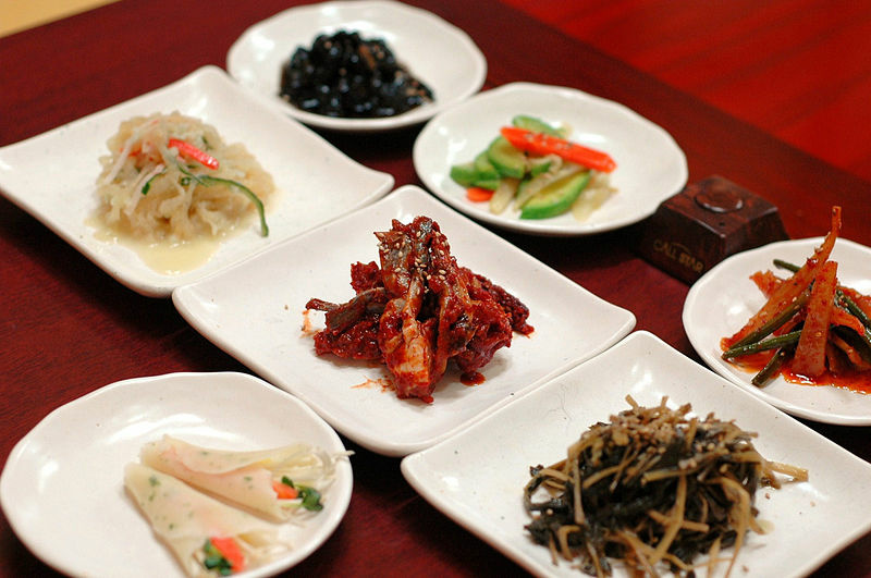 Banchan, small side dishes in Korean cuisine.