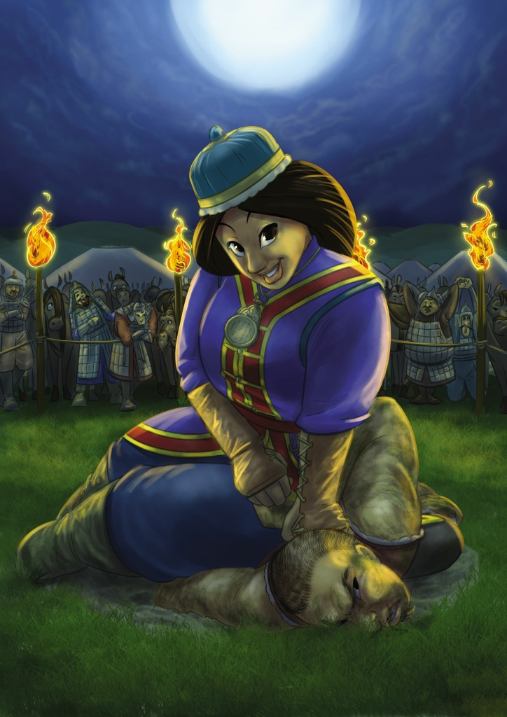Mongolian princess Khutulun, as illustrated by Jason Porath in his blog and new book,