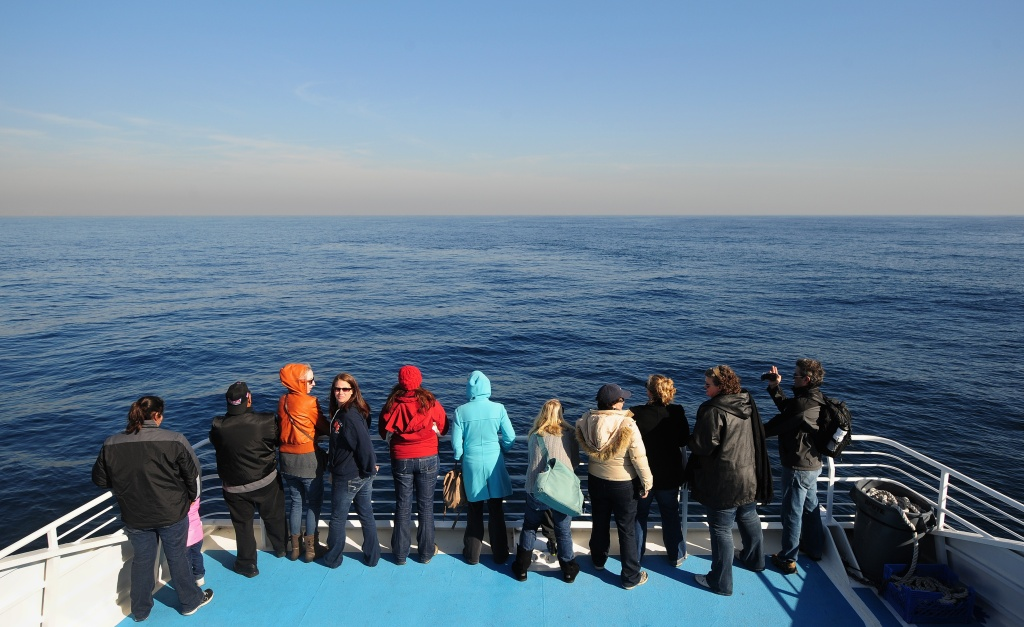 People take in the view from the front of a boat in the Pacific Ocean.