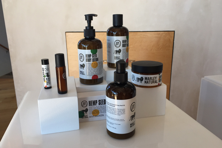 A sampling of Marley Natural products, on display at the launch party.