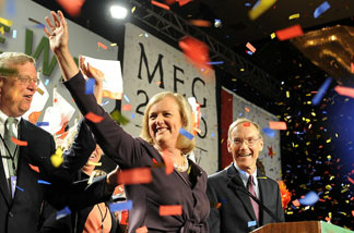 California Republican Party gubernatorial candidate Meg Whitman and her husband Griffith Harsh (R) celebrate during her primary election night party at the Hilton Hotel in Universal City, California July 8, 2010.