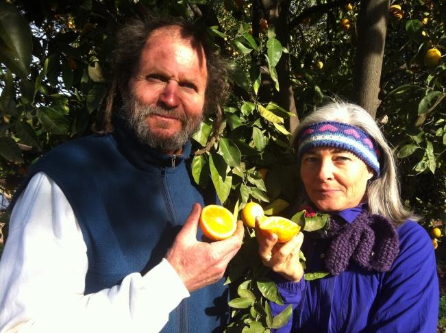 Earthtrine Farms' Bob Dautch with Kerry Clasby, a buyer for high-end restaurants.