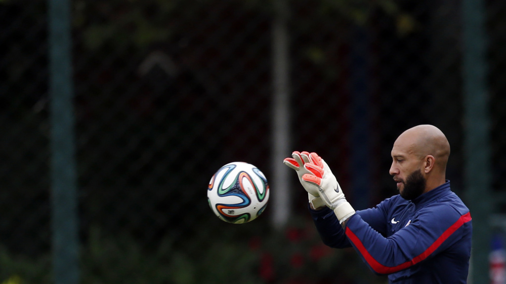 United States' goalkeeper Tim Howard works out during a training session.