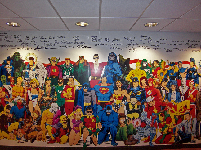 A mural on the wall of DC Comics' New York City headquarters, now closing.