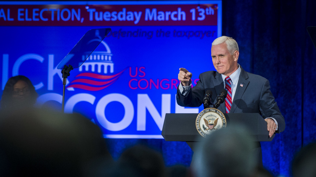 Vice President Mike Pence speaks during a campaign event for Pennsylvania congressional candidate Rick Saccone in February. Pence is playing a big role in Republicans' midterm election campaign.