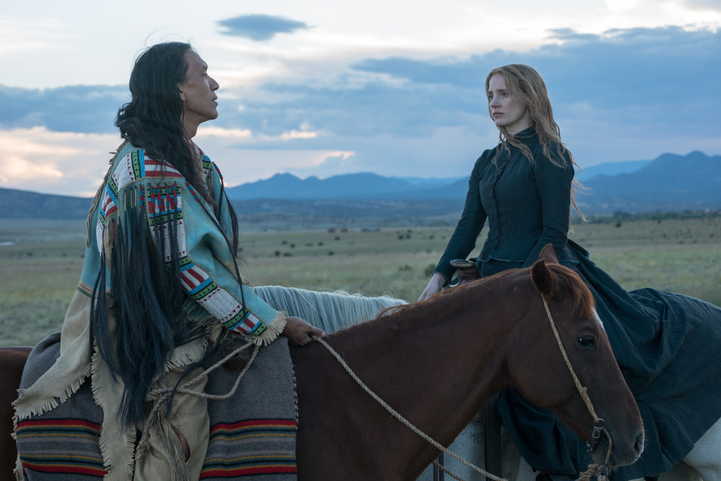 Michael Greyeyes and Jessica Chastain in