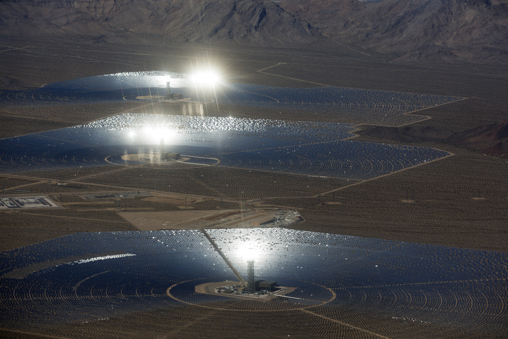 The Ivanpah Solar Power Facility is located in Ivanpah Dry Lake, Calif. near the California-Nevada border. The 3,500-acre facility was completed in 2013.
