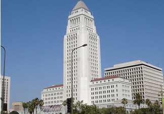 A view of City Hall in downtown Los Angeles, California.
