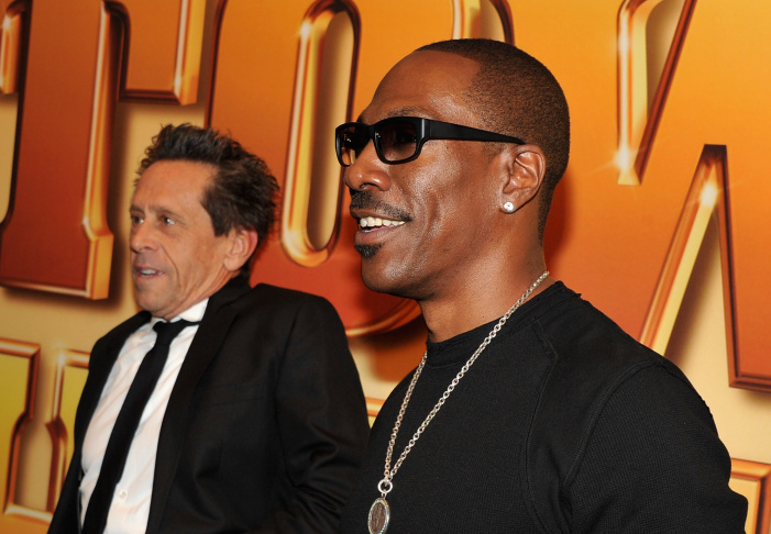 Producer Brian Grazer (L) and actor Eddie Murphy attend the world premiere of