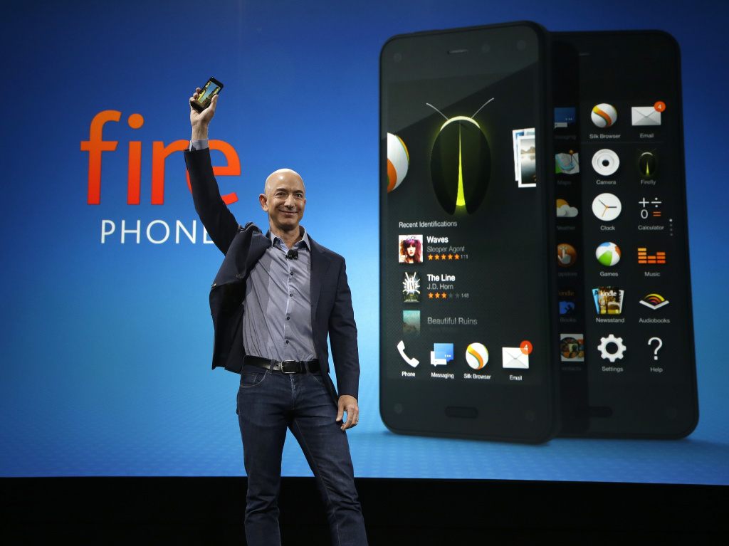 Amazon CEO Jeff Bezos introduces the new Amazon Fire Phone, on Wednesday, in Seattle.