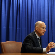 California Governor Jerry Brown prepares to sign copies of the California Homeowner Bill of Rights (AB 278 and SB 900) on July 11, 2012 in San Francisco, California.