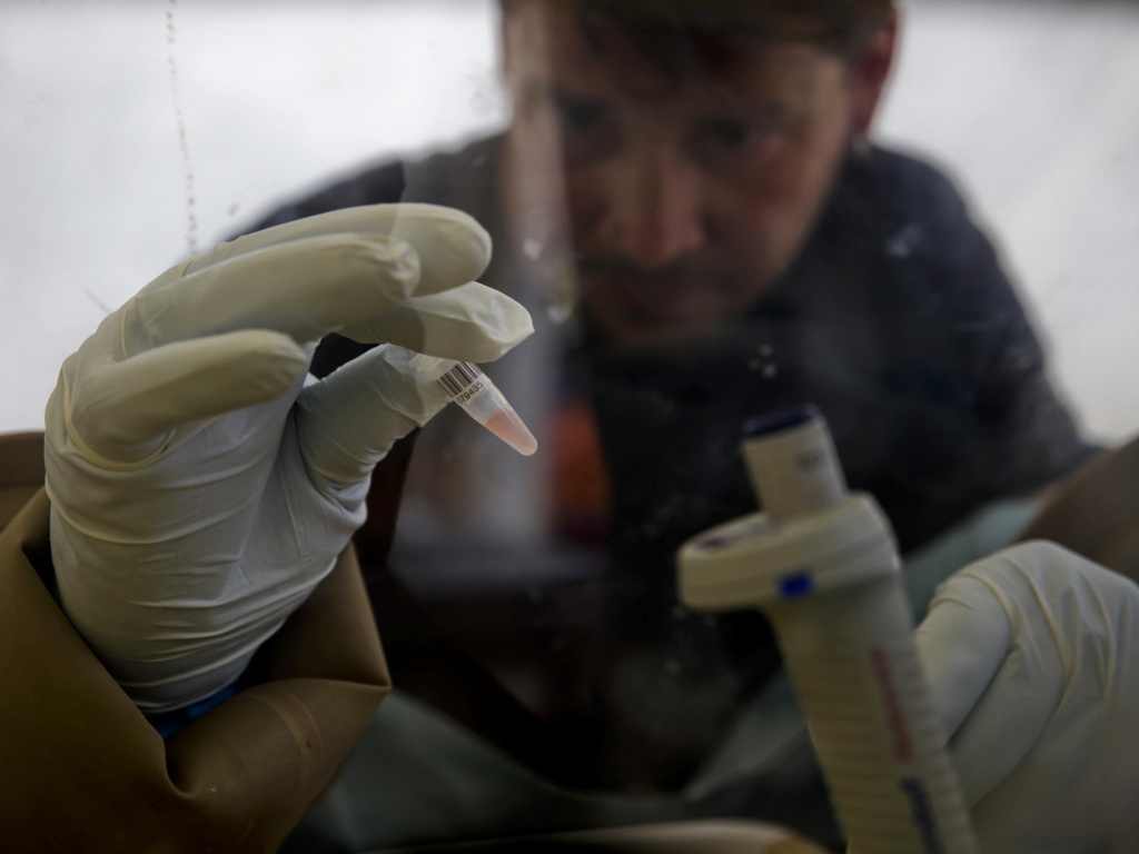 A scientist tests a patient's blood for Ebola at the European Mobile Laboratory in Gueckedou, Guinea. The first cases reported in the outbreak occurred in a small village about eight miles outside Gueckedou.