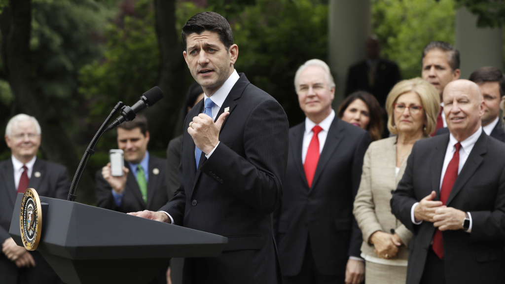 House Speaker Paul Ryan speaks in the Rose Garden at the White House on Thursday, May 4, 2017, after the House passed a Republican health care bill.