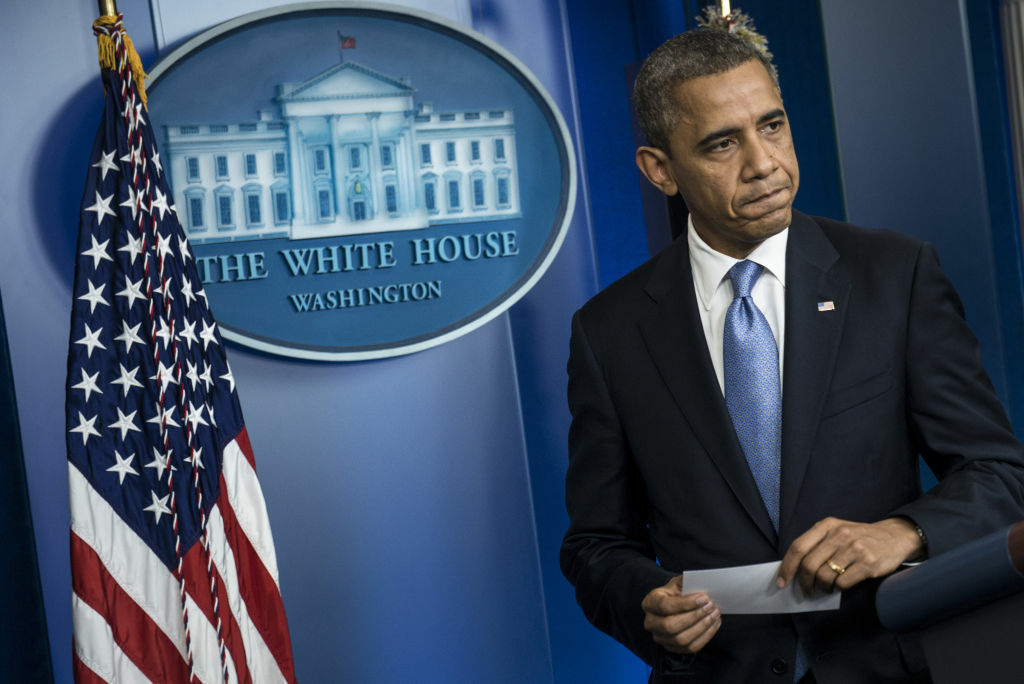 US President Barack Obama leaves after speaking to the press in the briefing room of the White House October 29, 2012.