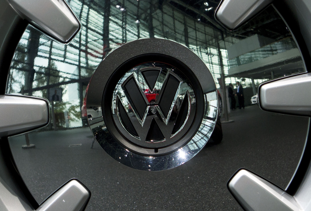 The rim of a wheel on VW Beetle is seen at German car maker Volkswagen's headquarters during the company's annual press conference on March 14, 2013 in Wolfsburg, northern Germany.