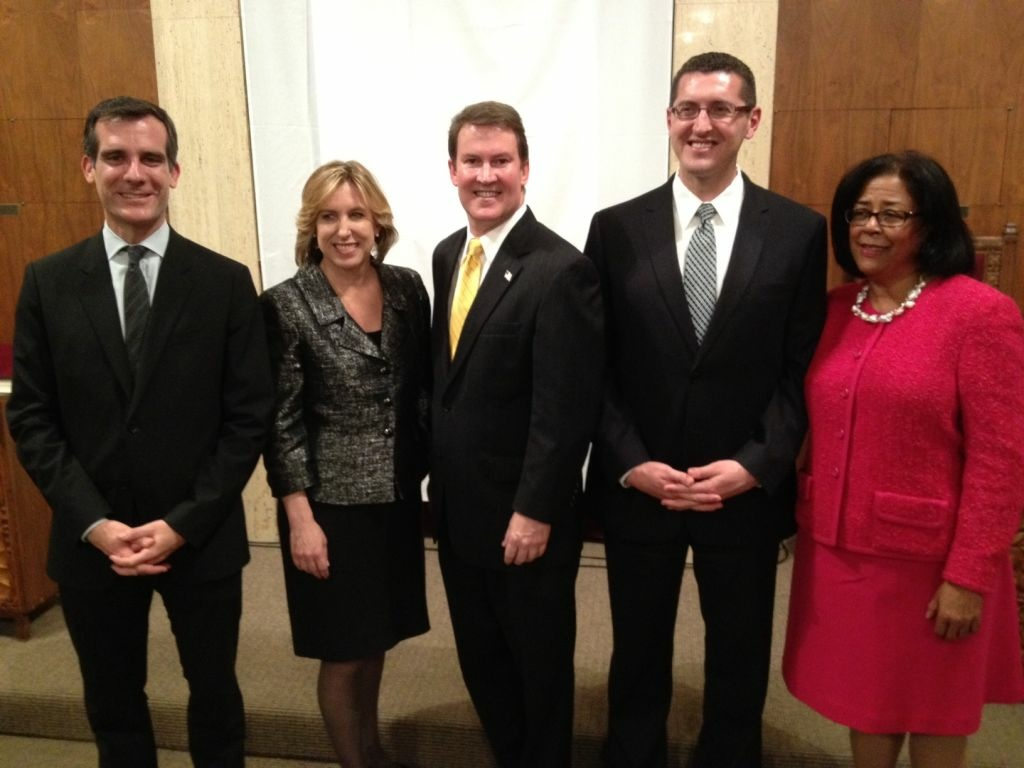 Los Angeles Mayoral candidates (from left) Eric Garcetti, Wendy Greuel, Kevin James, Emanuel Pleitez, and Jan Perry at their first debate on January 4, 2013.
