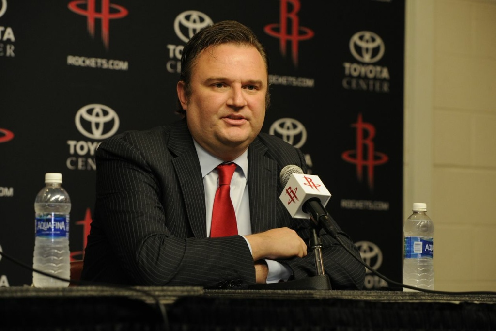 Daryl Morey, General Manager for the Houston Rockets, speaks in Houston, Texas
