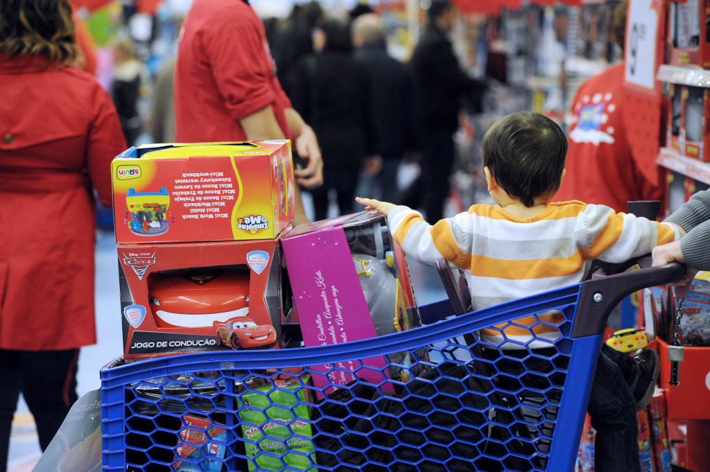 People make their Christmas shopping in a toys shop on December 15, 2012 in Saint-Pierre-des-Corps, near Tours.