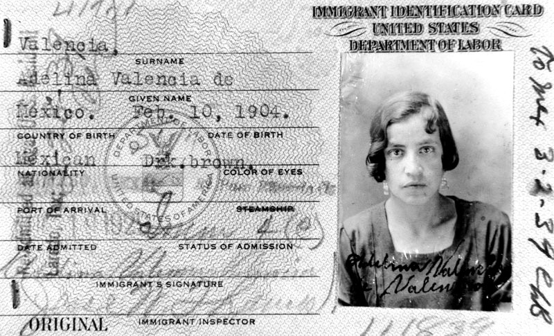 The Immigrant Identification Card of Adelina Valencia, an immigrant to the United States from Mexico, 1929.