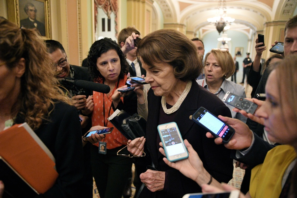 US Senator Dianne Feinstein, Democrat of California, speaks to reporters at the US Capitol in Washington DC, on October 5, 2018, after the vote on US Supreme Court nominee Brett Kavanaugh.