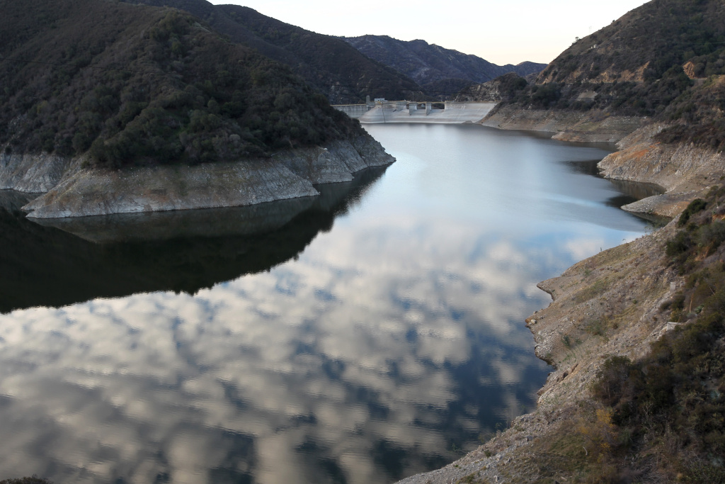 Rocky shores are exposed by the low waters of Morris Reservoir on the San Gabriel River in the Angeles National Forest on January 22, 2014 in near Azusa, California.