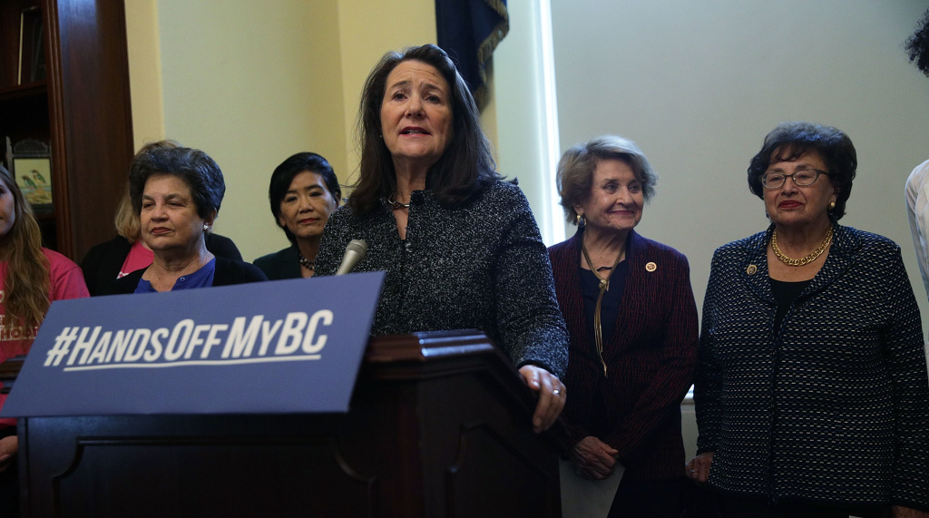 At an October news conference, the Congressional Pro-Choice Caucus called on President Trump to reverse the administration's moves to limit women's access to birth control. Rep. Diana DeGette, D-Colo., spoke at the lectern during the event on Capitol Hill.