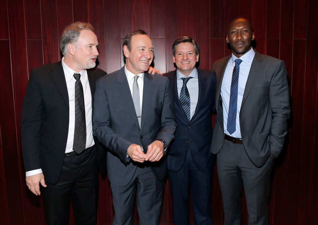 (L-R) Producer David Fincher, actor Kevin Spacey, Chief Content Officer, Netflix, Inc. Ted Sarandos and actor Mahershala Ali attend Netflix's