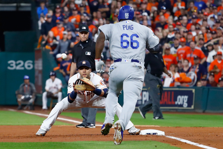 Clayton Kershaw of the Los Angeles Dodgers reacts as he exits the game during the fifth inning against the Houston Astros in game five of the 2017 World Series.