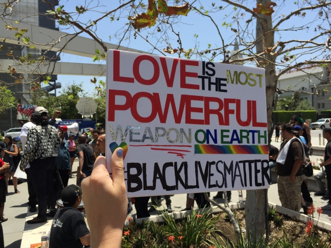 Black Lives Matter demonstrators marched from Los Angeles police headquarters to City Hall on July 12, 2016, in protest of the Los Angeles Board of Police Commissioners ruling that officers fatal shooting of a 30-year-old black woman, Redel Kentel Jones, in August 2015 was