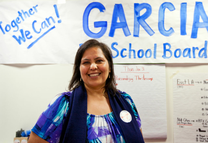 Incumbent LAUSD Board President Monica Garcia inside her campaign office in East LA on Thursday, Jan. 31. Garcia, among other candidates, have received donations from Hollywood.