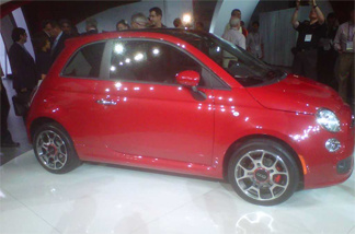 Chrysler's Fiat 500, which its designer describes as being eco-friendly, is displayed at a preview of the LA Auto Show on Nov. 17, 2010.