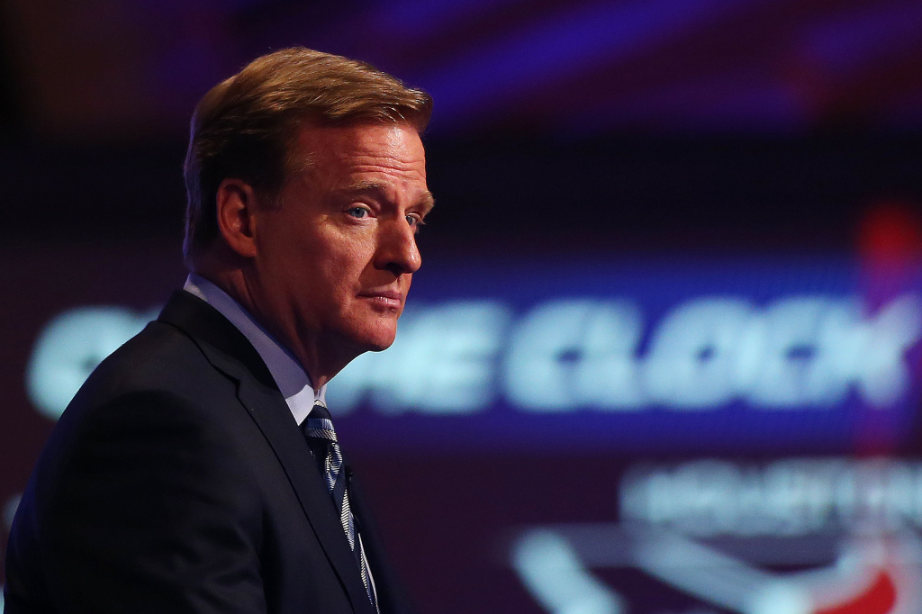 In this file photo, NFL Commissioner Roger Goodell looks on prior to the start of the first round of the 2014 NFL Draft at Radio City Music Hall on May 8, 2014 in New York City. Goodell has turned to former FBI Director Robert S. Mueller III to lead an inquiry into how the league handled video evidence of running back Ray Rice punching his then-fiancee.