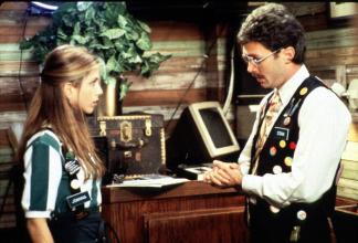Waitress Jennifer Aniston Does Not Enjoy Her Last Talk With Her Boss In A Scene Of Twentieth Century Fox Movie 'Office Space'