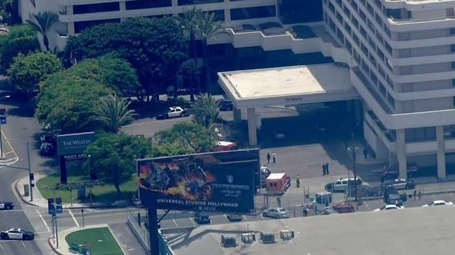 Police say one person was shot and killed outside the Westin Hotel on Century Boulevard near LAX on Wednesday.