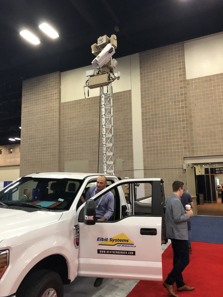CBP is testing autonomous surveillance towers like this one, parked at the Border Security Expo in San Antonio, to improve the tracking of illegal crossers. Critics of the border wall say the government should favor virtual technology over steel and concrete.