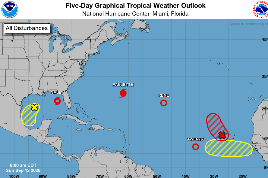 Hurricane Paulette is approaching Bermuda and expected to begin dumping rain on the territory late Sunday. Tropical Storm Sally is also threatening the Gulf Coast.