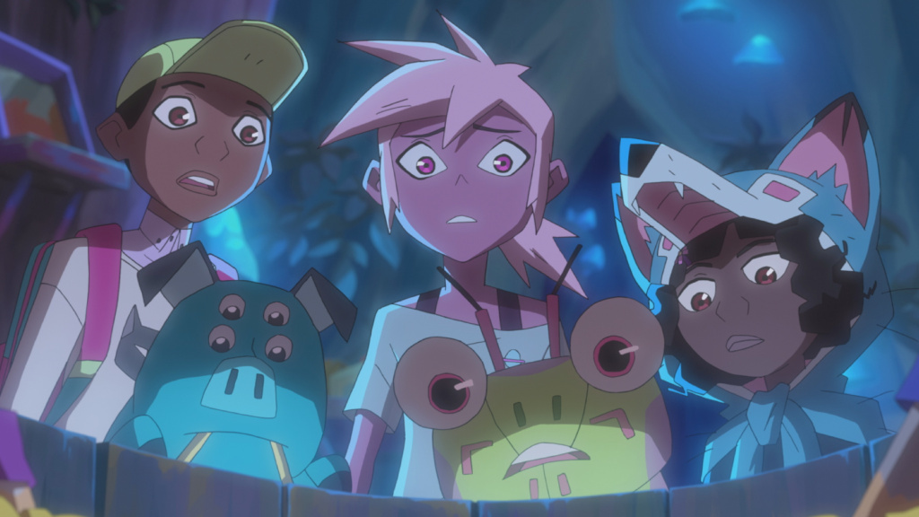 Kipo (center) and friends make their surprisingly cheerful way through a post-apocalyptic hellscape beset by giant mutant animals in <em>Kipo and the Age of Wonderbeasts.</em>