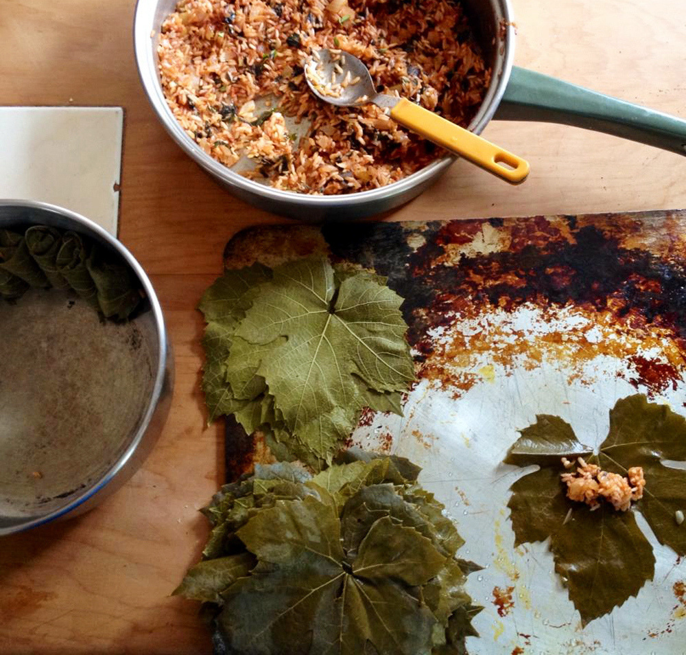 For years Devi Lockwood avoided learning how to cook. Now, she makes dolmades. The leaves for these stuffed grape leaves came from a vine on a friend's farm in New Zealand.