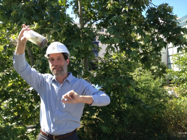 Research associate Dean Pentcheff holds up a jar where he's been collecting insects in the NHM garden as part of their three-year BioSCAN project.