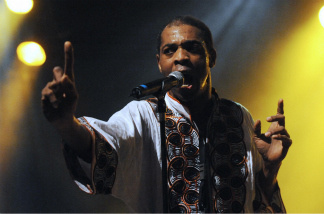 Nigerian musician Femi Kuti performs on stage.
