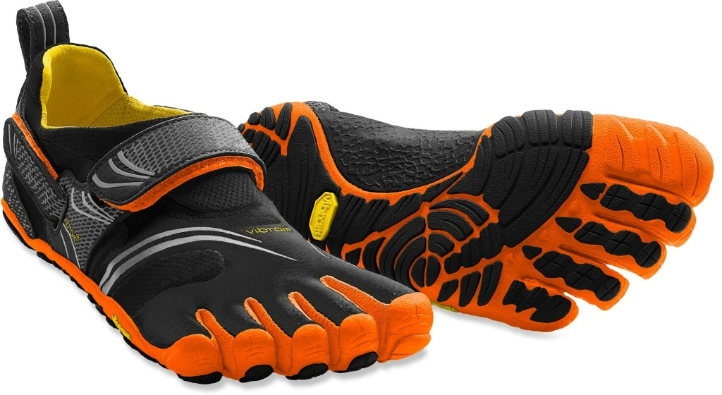 A pair of Vibram FiveFingers shoes.