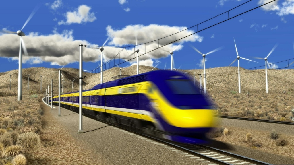 File: A rendering of what a high-speed rail train would look like traversing California's desert.